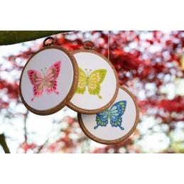 Boorduurpakket met borduurring -  Vlinders set van 3